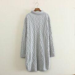 三木社 - 高领麻花针织长款毛衣