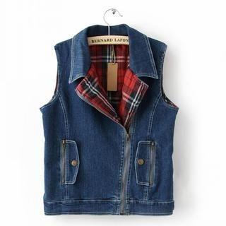 Flower Idea - Washed Denim Zip Vest