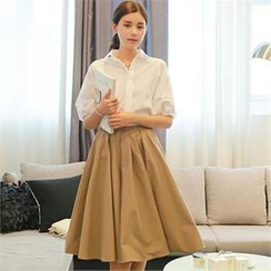 St. Mary - Set: Puff-Sleeve Loose-Fit Shirt + A-Line Midi Skirt