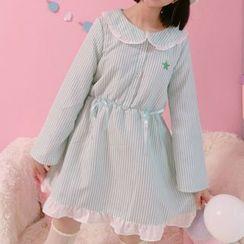 Moricode - 條紋荷葉擺襯衫裙