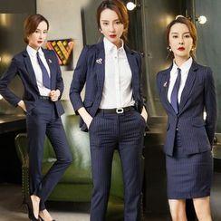 艾尚臣 - 條紋西裝 / 修身長褲