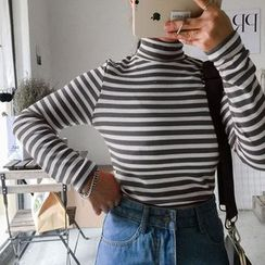 Clair Fashion - Turtleneck Striped Top