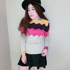 SHAW SNOW - 套裝: 插色長袖針織上衣 + 圓點A字裙