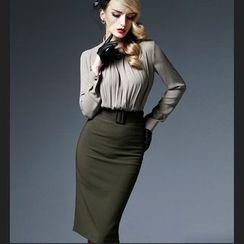 艾尚臣 - 套裝: 打褶雪紡襯衫 + 中長鉛筆裙