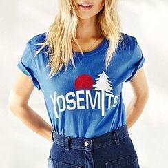 Richcoco - Letter Short-Sleeve T-Shirt