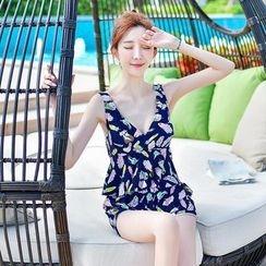 Little Dolphin - 套装: 印花皱摺两件泳装 + 泳装外罩