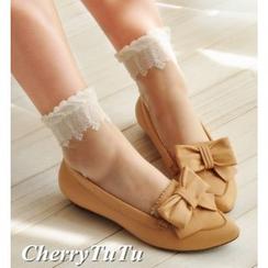 櫻桃兔兔 - 蕾絲花邊水晶絲襪