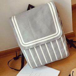 I.O.U - Striped Canvas Backpack