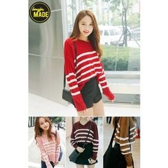 BONGJA SHOP - Stripe V-Neck Knit Top