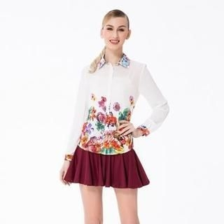 O.SA - Long-Sleeve Floral Chiffon Blouse