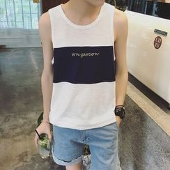 JUN.LEE - Letter Embroidered Color Block Tank Top