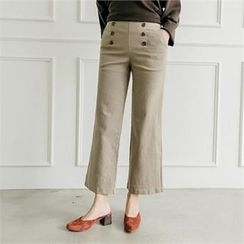 JOAMOM - Band-Waist Button-Detail Pants