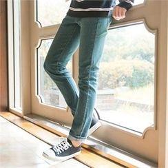 STYLEMAN - Band-Waist Washde Jeans