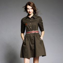 Ozipan - Elbow-Sleeve Shirtdress