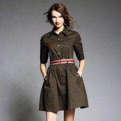 歐依潮派 - 五分袖襯衫連衣裙