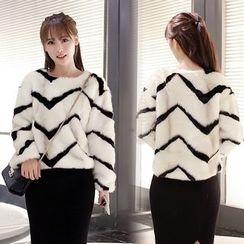 Sienne - Chevron Long Sleeve Furry Sweater