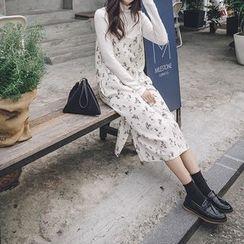 mimi&didi - Spaghetti-Strap Flower Patterned Long Dress