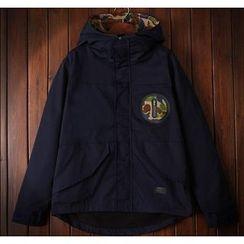 Bigboy - Camouflage Panel Hooded Fleece-lined Jacket