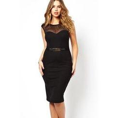Dear Lover - Sleeveless Sheer Panel Sheath Dress