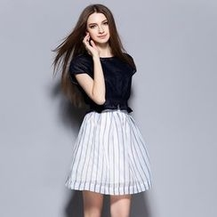 Cherry Dress - Set: Frill Trim Short-Sleeve Top + Pinstriped Skirt