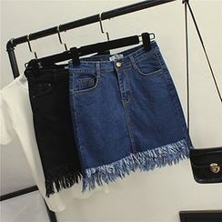 Honey House - Frayed Hem Denim Skirt