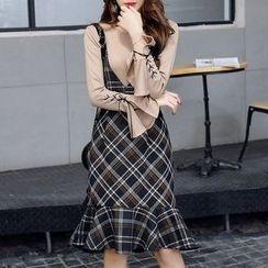 SEYLOS - 套装: 喇叭袖镂空针织上衣 + 格子背带裙
