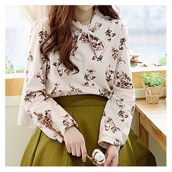 Sechuna - Long-Sleeve Floral-Patterned Top