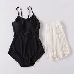 EMOX - Set : Plain Swimsuit + Cover-up