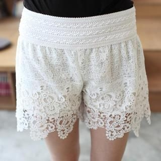 Mini Jule - Elastic-Waist Crochet Shorts