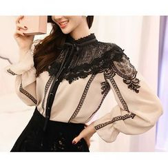 Marlangrouge - Tie-Neck Lace Blouse