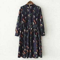 ninna nanna - Long-Sleeve Bird Corduroy Dress