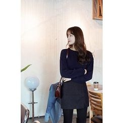 CHERRYKOKO - Drop-Shoulder Wool Blend Knit Top