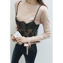 ATTYSTORY - Set: Lace Bustier Top + Cuff-Hem T-Shirt