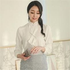 ode' - Frill-Trim Faux-Pearl Button Blouse