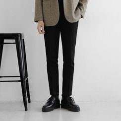 Seoul Homme - Flat-Front Brushed-Fleece Lined Straight-Cut Pants