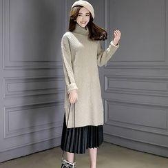 Romantica - Turtleneck Slit-Hem Long Sweater