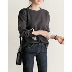 UPTOWNHOLIC - Slit-Sleeve Fleece-Lined Sweatshirt