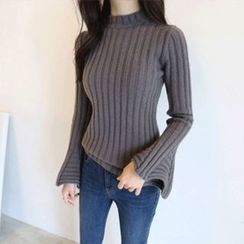 Hello sweety - Mock-Neck Bell-Sleeve Rib-Knit Sweater