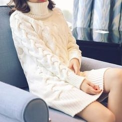BeLLia - Turtleneck Ribbed Knit Top