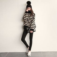 NIPONJJUYA - Turtle-Neck Drop-Shoulder Stripe Sweater