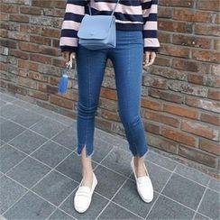 LIPHOP - 开衩摆短款牛仔裤