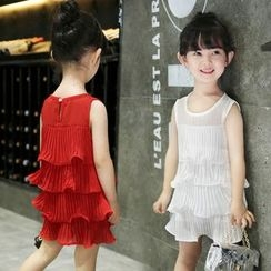 Merry Go Round - Kids Sleeveless Tiered Chiffon Dress