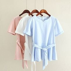 Angel Love - Short-Sleeve Tie Waist Top