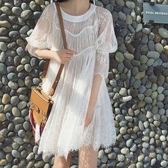 Athena - Set: 3/4-Sleeve Lace Dress + Slipdress