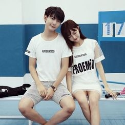 We Belong - Couple Matching Set: Lettering Short-Sleeve T-Shirt + Shorts / T-Shirt Dress