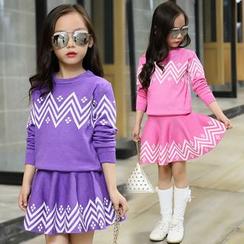 Pegasus - Kids Set: Patterned Sweater + A-Line Skirt