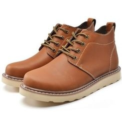 Van Camel - Genuine Leather Lace-Up Short Boots