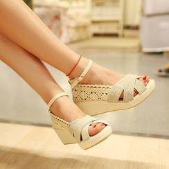 Blingon - Lace Wedge Sandals