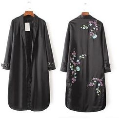 Ainvyi - Embroidered Open Front Trench Coat