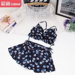 Morning Dew - Set: Floral Print Bikini + Cap Sleeve Top